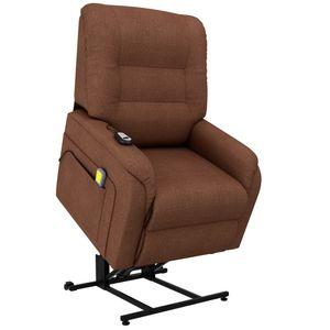 vidaXL Massage-TV-Sessel mit Aufstehhilfe Elektrisch Braun Stoff