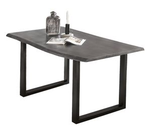 Sit Möbel Tische Tisch 200 x 100 cm, Platte antikgrau, Gestell schwarz Platte Akazie, Gestell Stahl L = 200 x B = 100 x H = 77 cm Platte antikgrau lackiert, Gestell anitkschwarz lackiert
