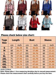 Damen Kariertes bedrucktes Langarmhemd mit Knöpfen Lässiges loses Taschenoberteil,Farbe: Weiß,Größe:S
