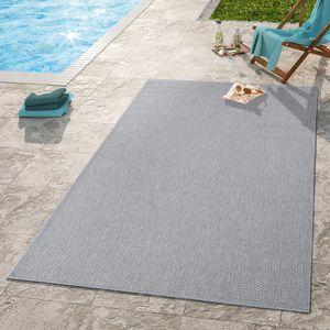 Moderner Outdoor Teppich Wetterfest Für Innen- Und Außenbereich Einfarbig In Grau, Größe:80x150 cm