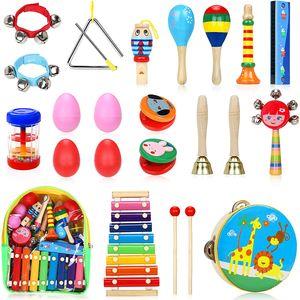 Musikinstrumente Kinder Set, 24 Stück Holz Percussion Set für Kleinkinder und Baby, Musik Kinderspielzeug Geschenke, Xylophon Percussion Instrumente mit Tragetasche