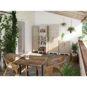 Keter Gartenschrank mit Regalböden Wood Grain Creme und Taupe 182 cm