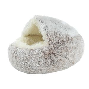 Pet Bett-Runde Weiche Plüsch Nest Höhle mit Kapuze Katze Bett für Hunde & Katzen, faux Pelz Cuddler Runde Komfortable Selbst Erwärmung Innen Farbe Kaffee 50cm