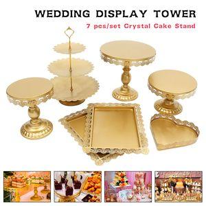 (Gold) 7Pcs Set Kristall Metall Kuchenhalter Cupcake Stand Geburtstag Hochzeitsfeier Display
