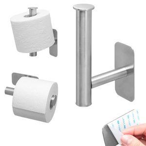 bremermann Bad-Serie PIAZZA TAPE Toilettenpapierhalter/Ersatzrollenhalter 2in1 selbstklebend aus Edelstahl, matt kein Bohren 3M Klebebefestigung Ersatzrollenhalter