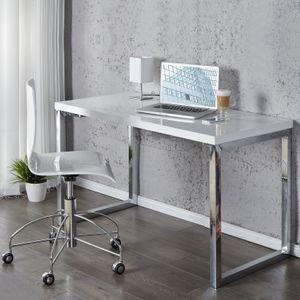 cagü: Design Schreibtisch [OXFORD] Weiß Hochglanz  120cm x 60cm