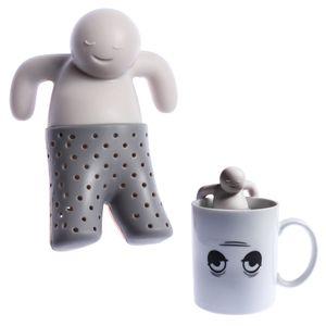 Teesieb Mr. Tea Teaman Teemännchen Tee-Zubereitung Tee-Filter Grau Silikon wiederverwendbar (Lebensmittelgeeignet, geruchslos, spülmaschinenfest)
