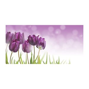 Tulup® Glas-Bild - 100x50 -Wandkunst - Wandbild hinter gehärtetem Sicherheitsglas  - Blumen & Pflanzen - Violette Tulpen - Lila