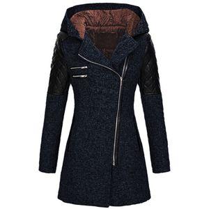 Frauen Warm Slim Jacke Dicker Mantel Winter Outwear Hooded Zipper Coat Größe:XXXXL,Farbe:Dunkelblau