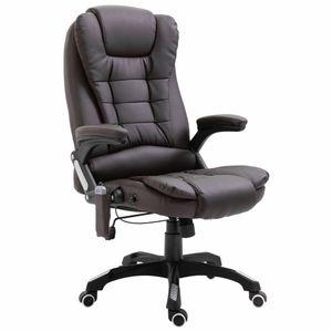 Massage-Bürostuhl Schreibtischstuhl Chefsessel Braun Kunstleder