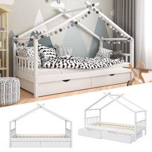 VitaliSpa Kinderbett DESIGN Hausbett mit Schubladen und Lattenrost in weiß 90x200cm