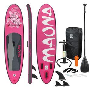 ECD Germany Aufblasbares Stand Up Paddle Board Maona | 308 x 76 x 10 cm | Pink | PVC | bis 120kg | Pumpe Tragetasche Zubehör | SUP Board Paddling Board Paddelboard Surfboard | verschiedene Farben
