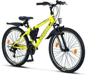 Licorne Bike Guide Premium Mountainbike in 20, 24 und 26 Zoll - Fahrrad für Mädchen, Jungen, Herren und Damen - Shimano 21 Gang-Schaltung, Kinderfahrrad, Kinder, Farbe:Gelb/Schwarz, Zoll:26