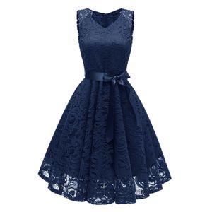 y Elegante Frauen Spitze Hallow Out Kleid aermellose V-Ausschnitt Guertel Suesse Prinzessin Party Abendkleid (2XL)