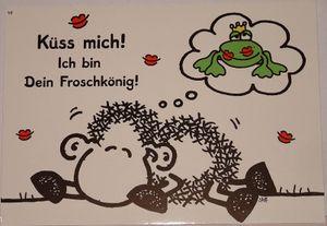 Sheepworld - 50582 - Postkarte, Nr. 49, Schaf, Küss mich, ich bin Dein Froschkönig!, Liebe, Pappe