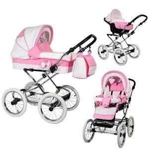 Kinderwagen Retro Nostalgisch Farbauswahl Luftreifen La Sweet by Ferriley & Fitz Sweet Pink 3in1 mit Babyschale
