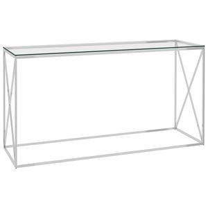 Möbel® Ziertisch Beistelltisch Silbern 140x40x78 cm Edelstahl und Glas