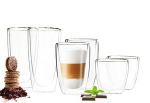 6 Doppelwandige Gläser 2x450 2x200 2x90ml Kaffeegläser Thermogläser Set