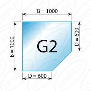 Kaminbodenplatte Transparent Form G2  1000 x 1000 x 6mm - Version ECO (Tragkraft bis 550 Kg)