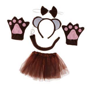 Tierkostüm Affenkostüm Set - Affen Ohren Haarreif, Fliege, Handschuhe, Schwanz und Tutu Rock, Geschenk zum Geburtstag oder Weihnachten