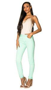 Damen Denim Jeans Hose Stretch Röhrenjeans Skinny Pants Push Up , Farben:Mint, Größe:42
