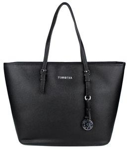 Shopper Tasche Tom & Eva TE-Jet Set Handtasche Groß Schultertasche Kunstleder Saffiano-Prägung Tote Bag Logo Anhänger Henkeltasche