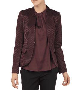 COMMA Blazer modische Damen Business-Jacke mit Allover-Muster Bordeaux, Größe:34