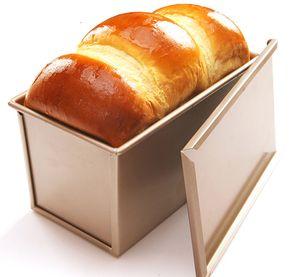 CANDeal Fš¹r 450g Teig Toast Brot Backform Geb?ck Kuchen Brotbackform Mold Backform mit Deckel(Gold-Rechteck-Glatt)