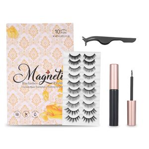 10 Paare Falsche Wimpern 2 PCS Magnetic Eyeliner mit Pinzette Verbesserter Magnetic Eyeliner und Magnetic Eyelashes Kit