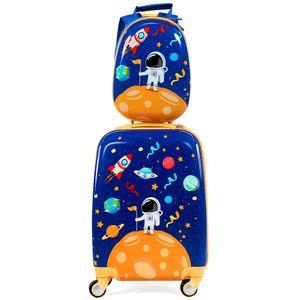 COSTWAY Kindergepaeck Kindertrolley, Kinderkoffer mit Rucksack, Reisekoffer Jungen, Handgepaeck Reisegepaeck Blau