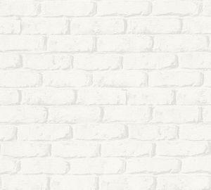 A.S. Création Steintapete Boys & Girls Tapete in Backstein Optik Papiertapete weiß grau 10,05 m x 0,53 m