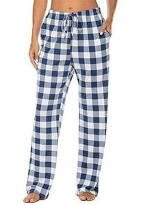 ydance Frauen Stoffhosen Schlafhosen Homewear Lässig Hosen Kariert Schlafanzüge,Farbe:Blau,Größe:L