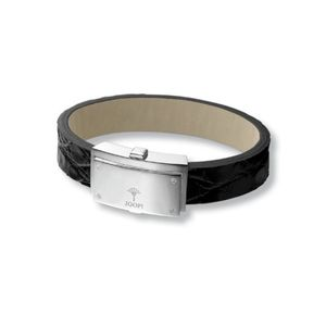 Joop JPBR90283A210 Herren Armband Silber Screw Leder schwarz 21 cm