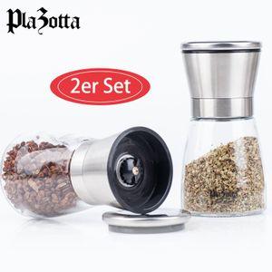 Gewürzmühle Set Edelstahl mit Keramikmahlwerk Salzmühle Pfeffermühle Chilimühle 2er Set