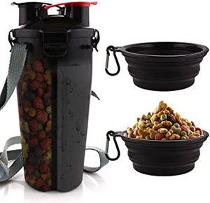 2 in1 Hundetrinkflasche & Futterflasche für Unterwegs Hunde Wasserflasche 350ml mit 2 Faltschüsseln Tragbare