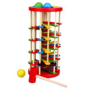 Klopfkugelturm aus Holz 26 cm mit 13.6cm Hammer für Kinder Lustiges Spielzeug