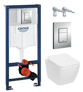 Grohe Vorwandelement + Wand WC Lino ohne Spülrand + Soft-Close-Absenkautomatik #120353