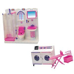 Kunststoff-Badezimmermöbel WC und Waschmaschine für Barbie-Puppenhaus