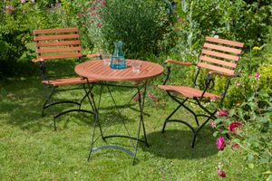 Merxx 3tlg. Schlossgarten Gartenmöbelset - 2 Stühle, 1 Tisch - Farbe: braun - Maße: Sessel: 60x57x85 Tisch: Ø 70x85; 2x 24241-217 + 1x 24248-217