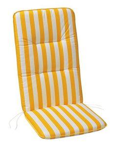 BEST Hochlehnerauflage l Gartenstuhl l 120x50x6cm l Gelb Weiß