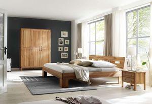 Schlafzimmer Komplett Set in massiver Kernbuche geölt 3-trg Schrank Bett 2x Nako