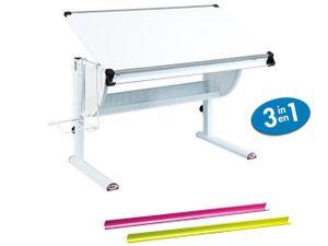Ergonomischer Schreibtisch Schühlerschreibtisch Kindertisch Matts 3 in 1 weiss höhenverstellbar neigbar