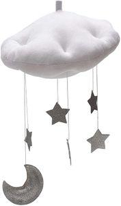 Baby Mobile Bett Mobile Weiße Wolken Silber Mond Sterne Decke Hängen Kinderzimmer Dekoratio