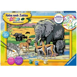 RAVENSBURGER Malen nach Zahlen Tiere in Afrika Wandbild Rahmen 1 Maltafel