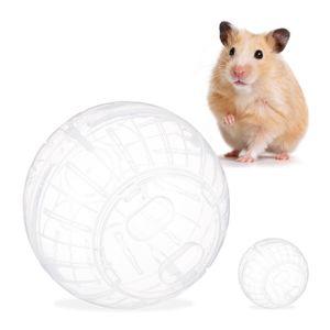 relaxdays 2 x Hamsterball transparent Mäusezubehör Laufkugel Mausball Hamsterkugel 14 cm