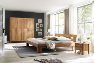 Schlafzimmer Komplett Set Kernbuche massiv geölt Kleiderschrank Bett modern