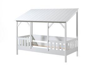 Vipack  Hausbett mit 90 x 200 cm Liegefläche, Dach in Weiß