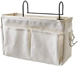 Betttasche mit Drahtrahmen Bett Organizer Hochbett Hängetasche Aufbewahrungstasche für Buch, Magazin, Kopfhörer(Weiß)