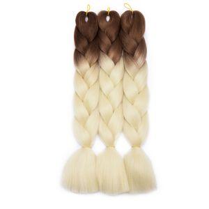 """S-noilite 24"""" Haarverlängerung Crochet Braids Extensions Braiding Haar Synthetik 3 Packs/300g Braun & Beige 60 cm"""
