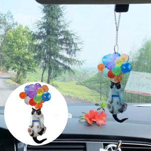 Auto Anhänger  Innenraumzubehör Katze Auto hängende Verzierung mit buntem Ballon hängenden Verzierung Nachbildung Auto Innendekoration 8cm  Anhänger Spielzeug